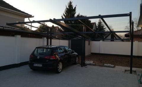 Függesztett autóbeálló acél szerkezete 1